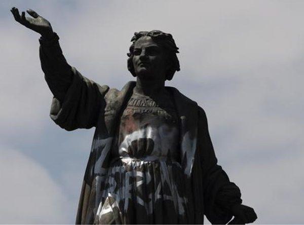 Se quitó la estatua de Cristóbal Colón en la Ciudad de México