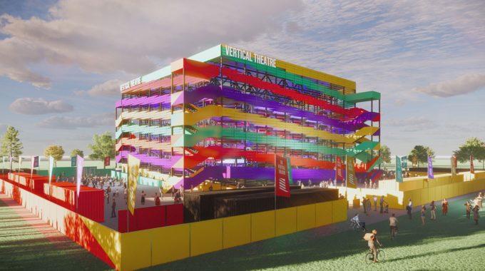 Diseño de teatro COVID vertical socialmente distanciado